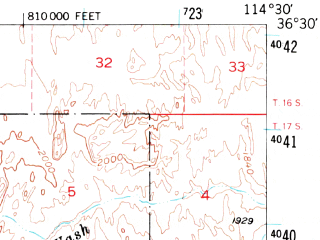 Reduced fragment of topographic map en--usgs--063k--058172--(1953)--N036-30_W114-45--N036-15_W114-30