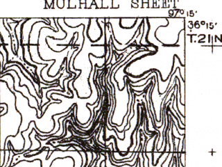 Reduced fragment of topographic map en--usgs--063k--058180--(1893)--N036-15_W097-30--N036-00_W097-15; towns and cities Mulhall, Orlando