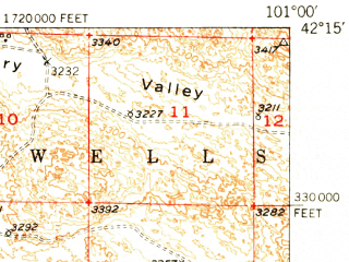 Reduced fragment of topographic map en--usgs--063k--058181--(1951)--N042-15_W101-15--N042-00_W101-00; towns and cities Mullen