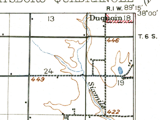 Reduced fragment of topographic map en--usgs--063k--058199--(1910)--N038-00_W089-30--N037-45_W089-15 in area of Kinkaid Lake; towns and cities Murphysboro, Ava, Vergennes