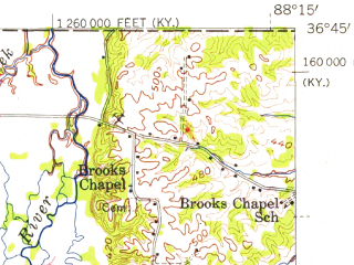 Reduced fragment of topographic map en--usgs--063k--058201--(1951)--N036-45_W088-30--N036-30_W088-15; towns and cities Murray, Hazel