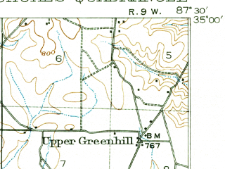 Reduced fragment of topographic map en--usgs--063k--058206--(1916)--N035-00_W087-45--N034-45_W087-30; towns and cities Florence, Sheffield, Underwood, Killen, St. Florian