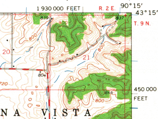 Reduced fragment of topographic map en--usgs--063k--058207--(1960)--N043-15_W090-30--N043-00_W090-15; towns and cities Avoca, Highland, Muscoda