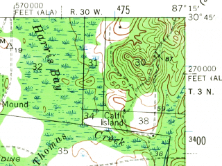Reduced fragment of topographic map en--usgs--063k--058208--(1941)--N030-45_W087-30--N030-30_W087-15; towns and cities Ensley, Gonzalez, Molino