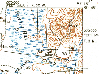Reduced fragment of topographic map en--usgs--063k--058208--(1943)--N030-45_W087-30--N030-30_W087-15; towns and cities Ensley, Gonzalez, Molino