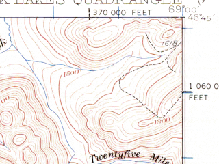Reduced fragment of topographic map en--usgs--063k--058213--(1932)--N046-45_W069-15--N046-30_W069-00 in area of Mussquacook Lakes, Fourth Musquacook Lake