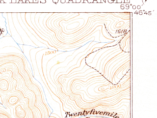 Reduced fragment of topographic map en--usgs--063k--058213--(1935)--N046-45_W069-15--N046-30_W069-00 in area of Mussquacook Lakes, Fourth Musquacook Lake