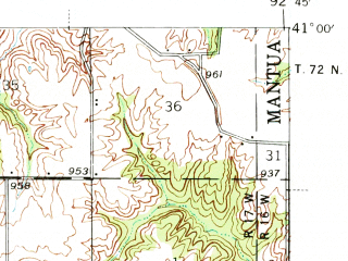 Reduced fragment of topographic map en--usgs--063k--058219--(1939)--N041-00_W093-00--N040-45_W092-45; towns and cities Mystic, Rathbun, Moravia