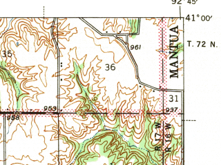 Reduced fragment of topographic map en--usgs--063k--058219--(1942)--N041-00_W093-00--N040-45_W092-45; towns and cities Moravia, Mystic, Rathbun