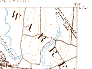 Reduced fragment of topographic map en--usgs--063k--058272--(1890)--N041-45_W071-30--N041-30_W071-15; towns and cities Warwick, Bristol, Barrington, Newport East, Melville