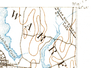 Reduced fragment of topographic map en--usgs--063k--058272--(1892)--N041-45_W071-30--N041-30_W071-15; towns and cities Warwick, Bristol, Barrington, Newport East, Melville