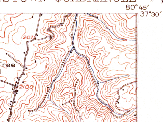 Reduced fragment of topographic map en--usgs--063k--058273--(1916)--N037-30_W081-00--N037-15_W080-45; towns and cities Glen Lyn, Narrows, Oakvale