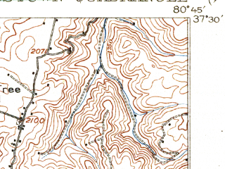 Reduced fragment of topographic map en--usgs--063k--058273--(1925)--N037-30_W081-00--N037-15_W080-45; towns and cities Narrows, Oakvale, Peterstown