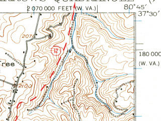 Reduced fragment of topographic map en--usgs--063k--058273--(1932)--N037-30_W081-00--N037-15_W080-45; towns and cities Glen Lyn, Narrows, Oakvale