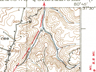 Reduced fragment of topographic map en--usgs--063k--058273--(1937)--N037-30_W081-00--N037-15_W080-45; towns and cities Oakvale, Peterstown, Rich Creek