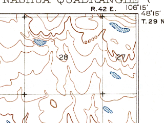 Reduced fragment of topographic map en--usgs--063k--058275--(1916)--N048-15_W106-30--N048-00_W106-15; towns and cities Fort Peck, Nashua