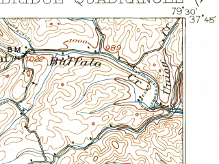 Reduced fragment of topographic map en--usgs--063k--058284--(1907)--N037-45_W079-45--N037-30_W079-30; towns and cities Buchanan