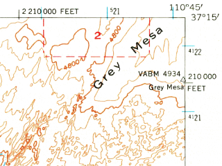 Reduced fragment of topographic map en--usgs--063k--058290--(1953)--N037-15_W111-00--N037-00_W110-45