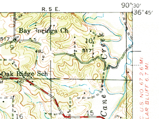 Reduced fragment of topographic map en--usgs--063k--058297--(1940)--N036-45_W090-45--N036-30_W090-30; towns and cities Naylor, Neelyville