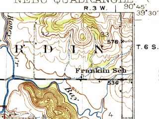 Reduced fragment of topographic map en--usgs--063k--058299--(1930)--N039-30_W091-00--N039-15_W090-45; towns and cities Annada, Clarksville, Nebo