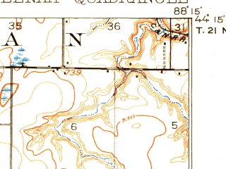 Reduced fragment of topographic map en--usgs--063k--058308--(1911)--N044-15_W088-30--N044-00_W088-15; towns and cities Neenah, Menasha, Sherwood, Stockbridge