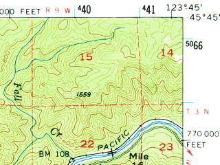 Reduced fragment of topographic map en--usgs--063k--058313--(1955)--N045-45_W124-00--N045-30_W123-45; towns and cities Bay City, Garibaldi, Manzanita