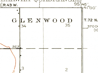 Reduced fragment of topographic map en--usgs--063k--058314--(1935)--N041-00_W096-00--N040-45_W095-45; towns and cities Union, Murray, Nehawka