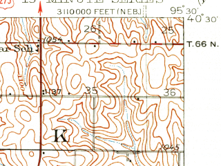 Reduced fragment of topographic map en--usgs--063k--058320--(1939)--N040-30_W095-45--N040-15_W095-30; towns and cities Rock Port, Watson, Brownville