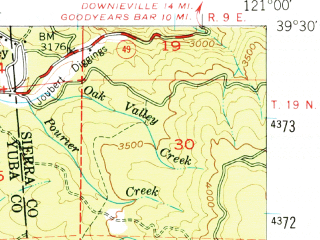 Reduced fragment of topographic map en--usgs--063k--058335--(1948)--N039-30_W121-15--N039-15_W121-00 in area of New Bullards Bar Reservoir; towns and cities Nevada City