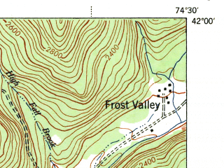 Reduced fragment of topographic map en--usgs--063k--058336--(1944)--N042-00_W074-45--N041-45_W074-30 in area of Neversink Reservoir; towns and cities Liberty