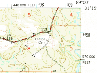 Reduced fragment of topographic map en--usgs--063k--058341--(1947)--N031-15_W089-15--N031-00_W089-00; towns and cities New Augusta