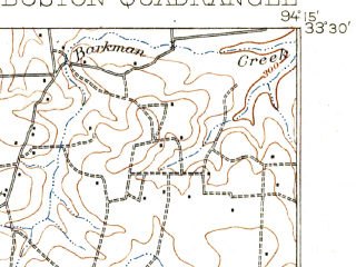 Reduced fragment of topographic map en--usgs--063k--058346--(1909)--N033-30_W094-30--N033-15_W094-15; towns and cities New Boston, Redwater, Hooks, Maud