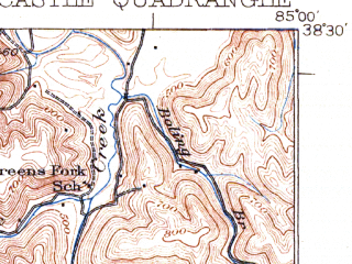 Reduced fragment of topographic map en--usgs--063k--058351--(1932)--N038-30_W085-15--N038-15_W085-00; towns and cities Eminence, New Castle, Pleasureville