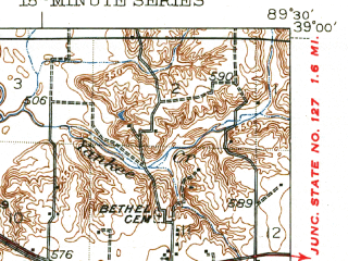 Reduced fragment of topographic map en--usgs--063k--058354--(1944)--N039-00_W089-45--N038-45_W089-30 in area of Highland Silver Lake; towns and cities Alhambra, Grantfork, New Douglas
