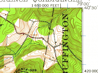 Reduced fragment of topographic map en--usgs--063k--058357--(1920)--N040-30_W079-15--N040-15_W079-00; towns and cities Seward, Armagh, Black Lick