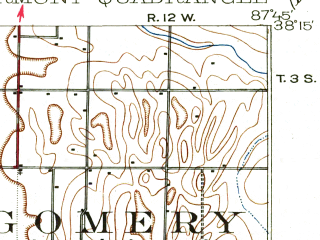 Reduced fragment of topographic map en--usgs--063k--058361--(1903)--N038-15_W088-00--N038-00_W087-45; towns and cities Poseyville, Griffin, New Harmony