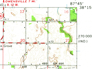 Reduced fragment of topographic map en--usgs--063k--058361--(1959)--N038-15_W088-00--N038-00_W087-45; towns and cities Griffin, New Harmony, Poseyville