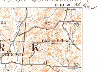 Reduced fragment of topographic map en--usgs--063k--058371--(1911)--N039-45_W082-15--N039-30_W082-00; towns and cities New Lexington, Murray City, New Straitsville, Rendville