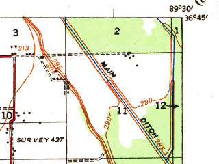 Reduced fragment of topographic map en--usgs--063k--058374--(1939)--N036-45_W089-45--N036-30_W089-30; towns and cities Catron, Howardville, Lilbourn