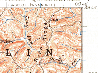 Reduced fragment of topographic map en--usgs--063k--058376--(1924)--N039-45_W081-00--N039-30_W080-45; towns and cities New Martinsville, Paden City, Sistersville