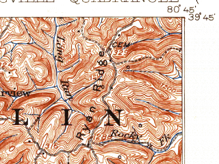 Reduced fragment of topographic map en--usgs--063k--058376--(1926)--N039-45_W081-00--N039-30_W080-45; towns and cities New Martinsville, Paden City, Sistersville