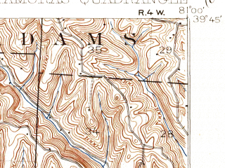 Reduced fragment of topographic map en--usgs--063k--058377--(1926)--N039-45_W081-15--N039-30_W081-00; towns and cities Antioch, Friendly, Graysville