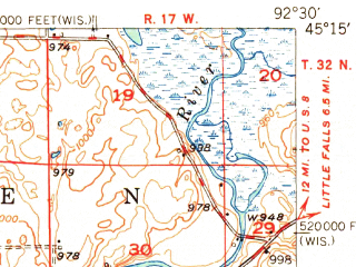 Reduced fragment of topographic map en--usgs--063k--058383--(1949)--N045-15_W092-45--N045-00_W092-30; towns and cities New Richmond, Somerset, Star Prairie