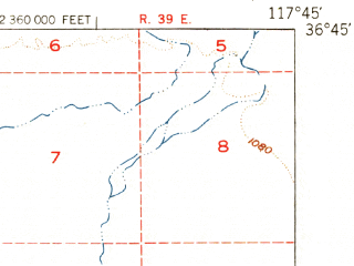 Reduced fragment of topographic map en--usgs--063k--058395--(1951)--N036-45_W118-00--N036-30_W117-45