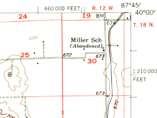 Reduced fragment of topographic map en--usgs--063k--058413--(1956)--N040-00_W088-00--N039-45_W087-45; towns and cities Allerton, Broadlands, Hume
