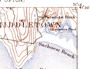 Reduced fragment of topographic map en--usgs--063k--058415--(1889)--N041-30_W071-30--N041-15_W071-15; towns and cities Newport, Narragansett Pier