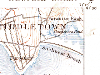 Reduced fragment of topographic map en--usgs--063k--058415--(1894)--N041-30_W071-30--N041-15_W071-15; towns and cities Newport, Narragansett Pier