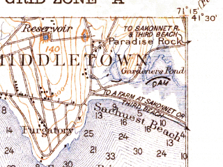 Reduced fragment of topographic map en--usgs--063k--058415--(1922)--N041-30_W071-30--N041-15_W071-15; towns and cities Newport, Narragansett Pier