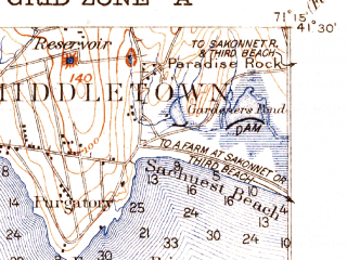 Reduced fragment of topographic map en--usgs--063k--058415--(1931)--N041-30_W071-30--N041-15_W071-15; towns and cities Newport, Narragansett Pier