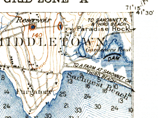Reduced fragment of topographic map en--usgs--063k--058415--(1935)--N041-30_W071-30--N041-15_W071-15; towns and cities Newport, Narragansett Pier